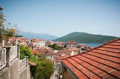 Herceg Novi прибрежный город в Черногории размещало на entra Стоковое Изображение