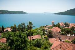 Herceg Novi прибрежный город в Черногории размещало на entra Стоковые Изображения