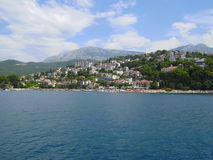 Herceg Novi the city on the coast of Montenegro. View from the sea on the city Herceg Novi Stock Photos