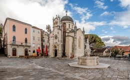 Archangel Michale orthodox church in the Old Town in Herceg Novi, Montenegro stock photo