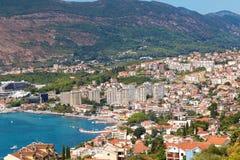 Herceg Novi, Montenegro. Panoramic shot. Beautiful top view on t royalty free stock images