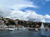 Herceg-Novi, Montenegro. Herceg Novi, Montenegro, the port with yachts, boats and ships, views of the old city Stock Image
