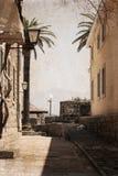 Herceg Novi, Montenegro. Street of old town/ artwork in retro style stock image