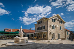 Herceg Novi old town square with drinkable water Royalty Free Stock Photos