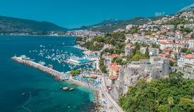 Herceg Novi, opinião aérea de Montenegro na cidade fotografia de stock royalty free
