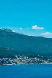 Herceg Novi, the view from the shore on the contrary, against. The background of mountains and sky, Montenegro, Adriatic stock images