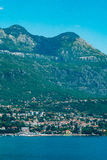 Herceg Novi, the view from the shore on the contrary, against. The background of mountains and sky, Montenegro, Adriatic royalty free stock photos