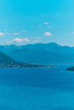 Herceg Novi, the view from the shore on the contrary, against th. E background of mountains and sky, Montenegro, Adriatic royalty free stock photo