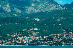 Herceg Novi, the view from the shore on the contrary, against th. E background of mountains and sky, Montenegro, Adriatic stock photography