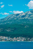 Herceg Novi, the view from the shore on the contrary, against th. E background of mountains and sky, Montenegro, Adriatic royalty free stock photos