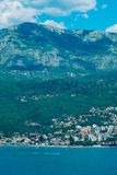 Herceg Novi, the view from the shore on the contrary, against th. E background of mountains and sky, Montenegro, Adriatic royalty free stock image
