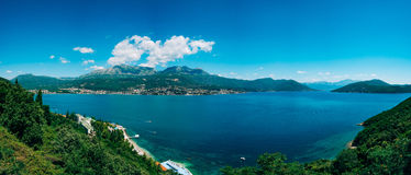 Herceg Novi, the view from the shore on the contrary, against th. E background of mountains and sky, Montenegro, Adriatic stock image