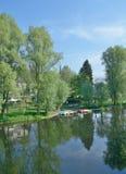 Herchen, Sieg River, Reno norte Westfalia, Alemanha Foto de Stock Royalty Free