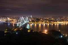 Hercilio Luz桥梁在晚上,弗洛里亚诺波利斯,巴西 免版税库存图片