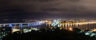 The Hercilio Luz Bridge at night, Florianopolis, Brazil. Stock Image