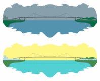 Hercilio Luz mostu linia horyzontu dzień łatwo redaguje noc wektora ilustracji