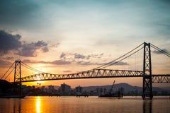 Hercilio Luz på solnedgången Arkivfoto