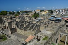 Hercolaneum oude roman ruine Stock Foto's