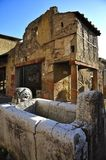 Herculaneum, Campania, Italy. Herculanean Street View with Well, in portrait mode Royalty Free Stock Images