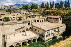 herculaneum Взгляд на древнем городе стоковые изображения