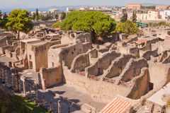 Herculaneum. The ancient ruins of Herculaneum on the bay of Naples, Italy Stock Photo