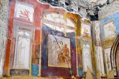 Herculaneum, ancient Roman town. Hercules, Juno and Minerva fresco, College of the Augustans, Ercolano, Italy stock image
