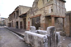 Herculaneum. Ancient Roman town of Herculaneum, Italy; destroyed by the eruption of Mount Vesuvius AD79 stock photo