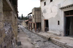 Herculaneum. Ancient Roman town of Herculaneum, Italy; destroyed by the eruption of Mount Vesuvius AD79 stock photos