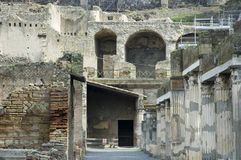 Herculaneum Excavations 7. Close view of Herculaneum Excavations, ruins from the vulcano eruption, Naples, Italy stock photo