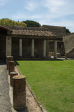 Herculaneum Forum. The forum or garden of a large ancient Roman villa preserved by ash from the volcano Vesuvius Stock Photos