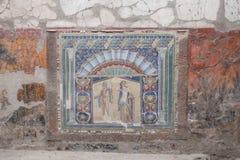 Herculaneum, Itália Netuno e Salacia, mosaico da parede na casa 22, nas ruínas de Herculaneum/Ercolano perto de Nápoles, Itália fotos de stock