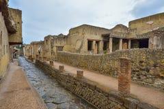 Herculaneum, ITALIË - JUNI 01: Ruïnes van de Herculaneum de oude roman stad, Italië op 01 Juni, 2016 Stock Foto's