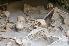 Herculaneum ITALIEN - JUNI 01: Herculaneum fördärvar den forntida roman staden, Italien på Juni 01, 2016 Arkivfoto