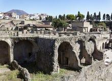 Herculaneum and Vesuvius Royalty Free Stock Photo