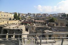 Herculaneum View over the ancient Roman archaeological site ,close to Naples,Italy stock photos