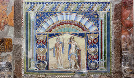 Herculaneum Wall Mosaic. The beautifully preserved and restored wall mosaic from the house of Neptune and Amphitrite in Herculaneum stock images