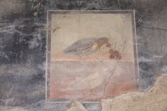Herculaneum. Wall painting in ancient Roman town of Herculaneum, Italy; destroyed by the eruption of Mount Vesuvius AD79 stock images