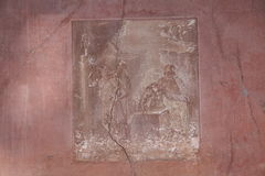 Herculaneum. Wall painting in ancient Roman town of Herculaneum, Italy; destroyed by the eruption of Mount Vesuvius AD79 royalty free stock images