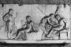 Herculanum  fresco of love scenes. Stock Photos