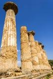 Hercules Świątynne antyczne kolumny, Włochy, Sicily, Agrigento Obrazy Stock