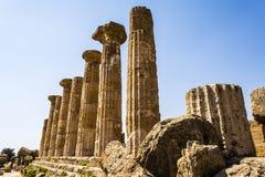 Hercules Świątynne antyczne kolumny, Włochy, Sicily, Agrigento Obraz Stock