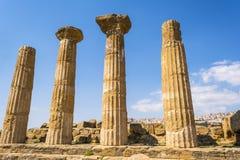 Hercules Świątynne antyczne kolumny, Włochy, Sicily, Agrigento Fotografia Royalty Free