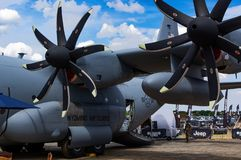Hercules aircraft at the Farnborough air show 2018 royalty free stock images