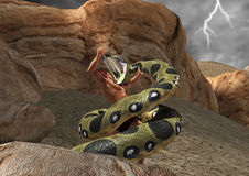 Hercules Battle Fight Serpent Snake Scene Illustration. Hercules fighting it out with a giant serpent creature Royalty Free Stock Photo