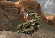 Hercules Battle Fight Serpent Snake-Szenen-Illustration Lizenzfreies Stockfoto