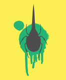 Hercules Beetle Insect Vector Silhouette. Creepy Hercules Beetle Insect Isolated on Grunge Smudge Vector Illustration Royalty Free Stock Photography