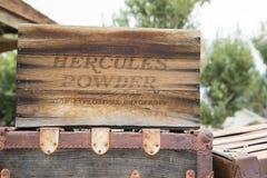 Hercules Box. An old box of Hercules explosive powder Royalty Free Stock Photos