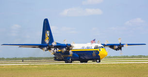 Hercules C-130. Fat Albert taking off  at Wings Over South Texas Air Show, kingsville , Texas Royalty Free Stock Photo
