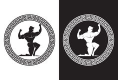 Hercules dentro de uma vista dianteira chave grega Imagem de Stock