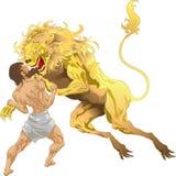 Hercules en de Leeuw Nemean Stock Afbeelding